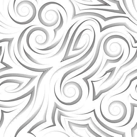 Vector black seamless pattern drawn with a pen or liner for decoration isolated on a white background.Smooth uneven lines in the form of spirals of corners and loops.