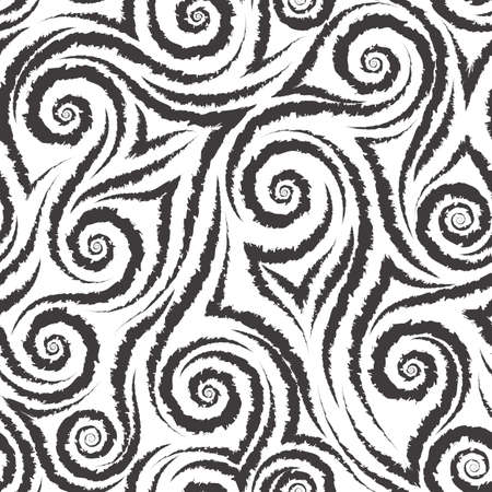 Black smooth lines corners and spirals with torn edges on a white background vector seamless pattern.Abstract geometric texture wool or fur Ilustração