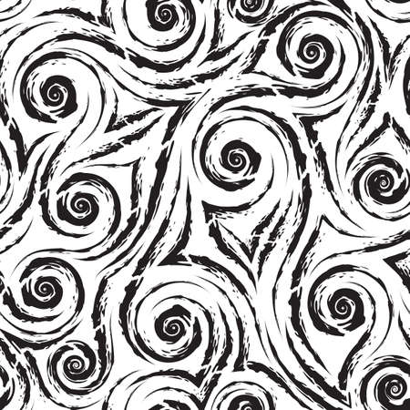 black smooth lines corners and spirals with torn edges isolated on white background vector seamless pattern.Abstract wave or swirl texture vintage ornament.