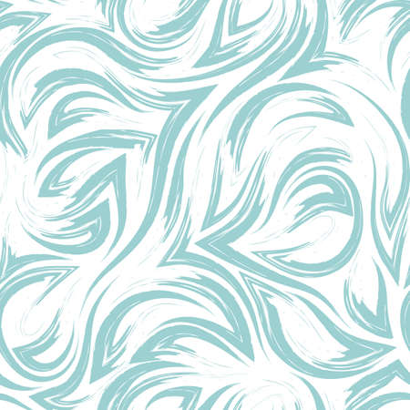 turquoise vector geometric seamless pattern from corners of flowing lines and waves isolated on white background.Water or sea flow texture.