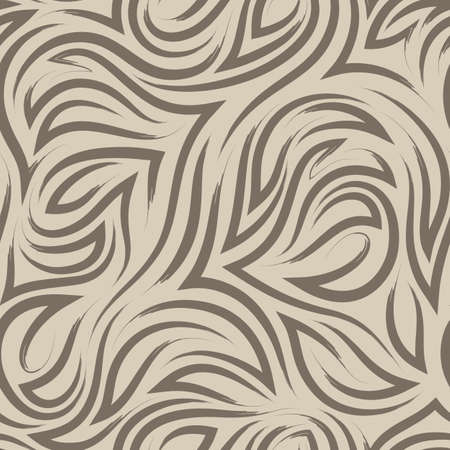 brown flowing lines and corners vector seamless pattern on beige background.Elegant flowing texture and stripes of brush strokes