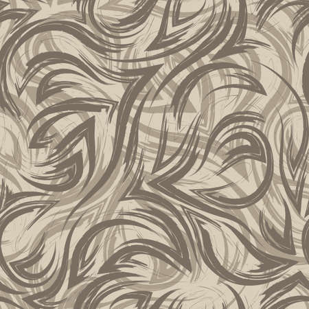 seamless brown vector texture from the corners of smooth lines and waves on a beige background. Texture of the river water or sea. Smooth lines and corners. Ilustracje wektorowe