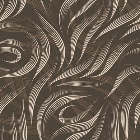 seamless pattern of lines drawn by a pen of beige color isolated on a brown background. Texture of smooth stripes and loops Zdjęcie Seryjne