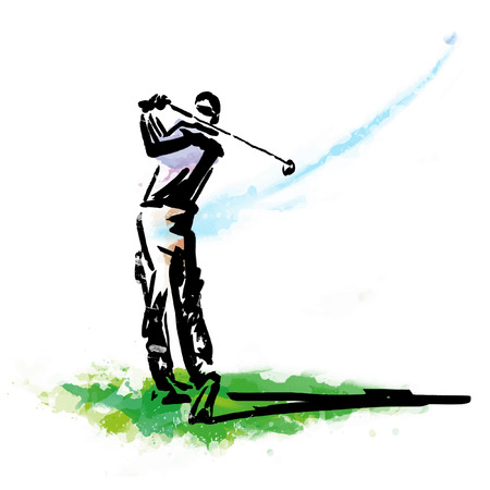 Man swinging golf. Golf players.