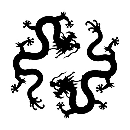 Chinese dragon silhouettes