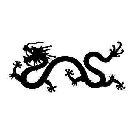 中国のドラゴンのシルエット