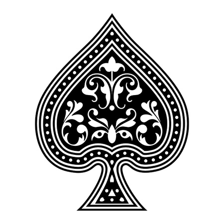 An ornate playing card spade  Vector