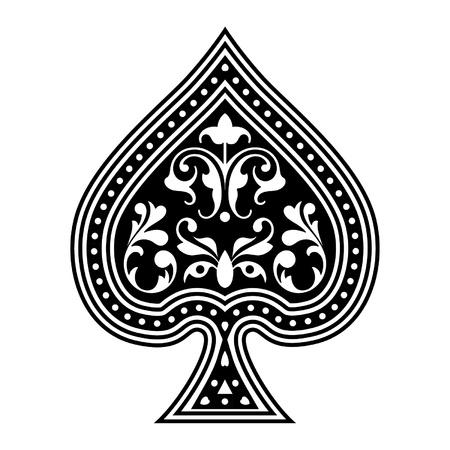 An ornate playing card spade