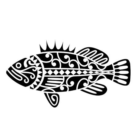 마오리 부족의 문신에서 영감 물고기 일러스트