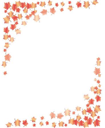 autumn leaf frame: Hojas de Oto�o de la frontera  Vectores