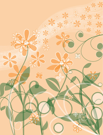 Floral Vine background with wavy lines