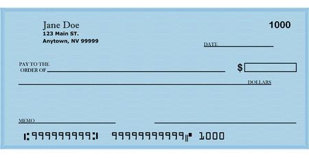 chequera: Cheque en blanco con la direcci�n 2