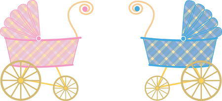 baby and mother: Plaid girl and boy baby strollers Illustration