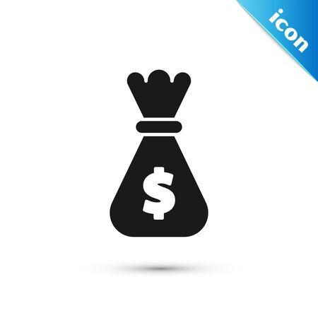 Black Money bag icon isolated on white background. Dollar or USD symbol. Cash Banking currency sign. Vector Illustration Vectores