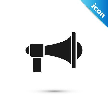 Schwarzes Megaphon-Symbol isoliert auf weißem Hintergrund. Lautes Sprachalarmkonzept. Megaphon für Mundstück Scream Promotion. Vektorillustration