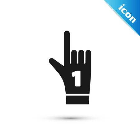 Black Number 1 one fan hand glove with finger raised icon isolated on white background. Symbol of team support in competitions. Vector Illustration