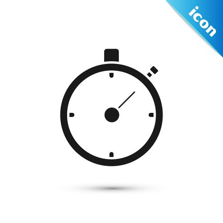 Black Stopwatch icon isolated on white background. Time timer sign. Chronometer sign. Vector Illustration