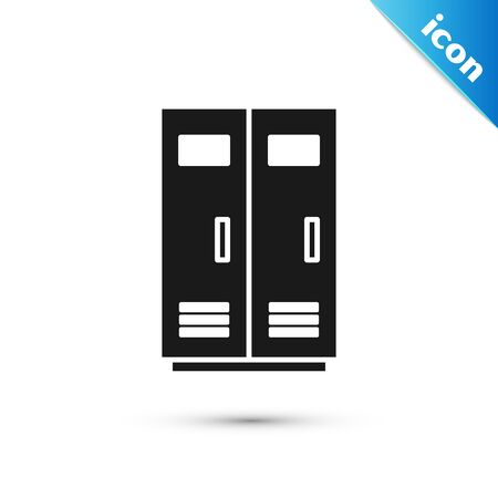 Black Locker or changing room for football, basketball team or workers icon isolated on white background. Vector Illustration