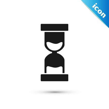 Black Old hourglass with flowing sand icon isolated on white background. Sand clock sign. Business and time management concept. Vector Illustration