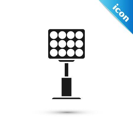 Black Bright stadium lights icon isolated on white background. Spotlight on a football field. Floodlight, light projector. Vector Illustration