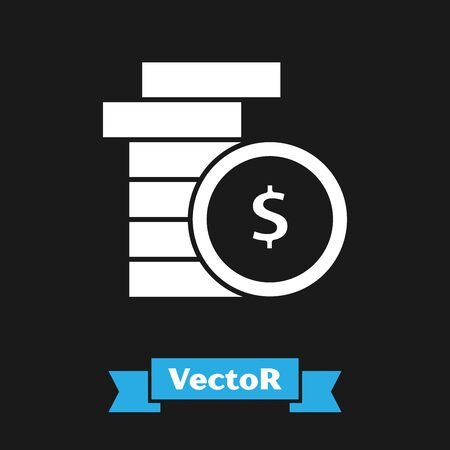 White Coin money with dollar symbol icon isolated on black background. Banking currency sign. Cash symbol. Vector Illustration Illustration