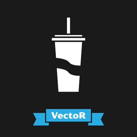 White Paper glass with drinking straw and water icon isolated on black background. Soda drink glass. Fresh cold beverage symbol. Vector Illustration Ilustração
