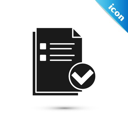 Black Document and check mark icon isolated on white background. Checklist icon. Business concept. Vector Illustration