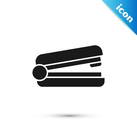 Black Office stapler icon isolated on white background. Stapler, staple, paper, cardboard, office equipment. Vector Illustration Vectores