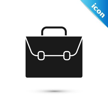 Black Briefcase icon isolated on white background. Business case sign. Business portfolio. Vector Illustration