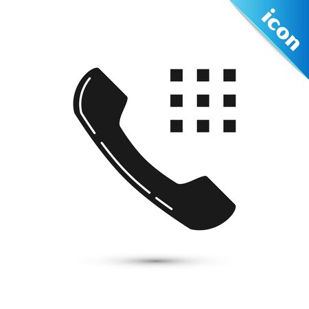 Black Telephone handset icon isolated on white background. Phone sign. Vector Illustration