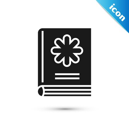 Black Medical book icon isolated on white background. Vector Illustration