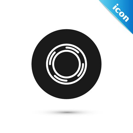 Black cellophane tape icon isolated on white background. Roll of adhesive tape for work and repair. Sticky packing tape. Office tool and stuff. Vector Illustration