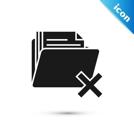Black Delete folder icon isolated on white background. Folder with recycle bin. Delete or error folder. Close computer information folder. Vector Illustration