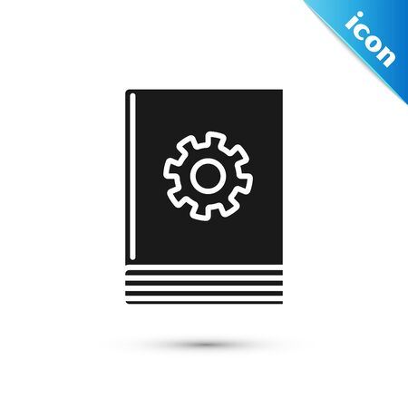 Black User manual icon isolated on white background. User guide book. Instruction sign. Read before use. Vector Illustration