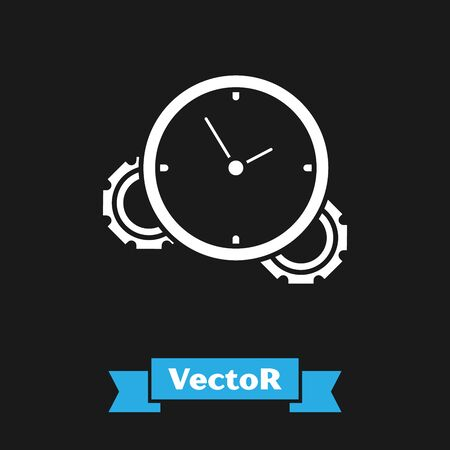 White Time Management icon isolated on black background. Clock and gear sign. Productivity symbol. Vector Illustration Stock Illustratie