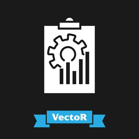 White Clipboard with graph chart icon isolated on black background. Report text file icon. Accounting sign. Audit, analysis, planning. Vector Illustration