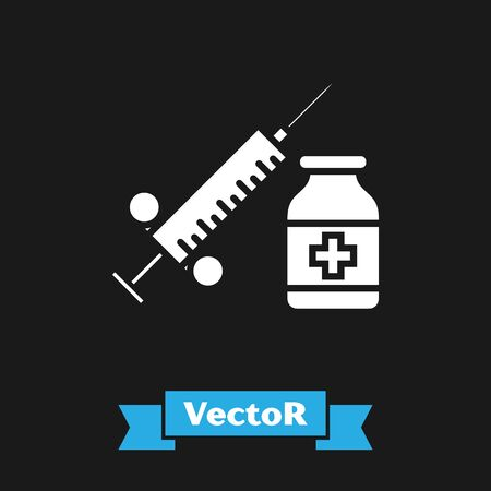 White Medical syringe with needle and vial or ampoule icon isolated on black background. Vaccination, injection, vaccine, insulin concept. Vector Illustration  イラスト・ベクター素材