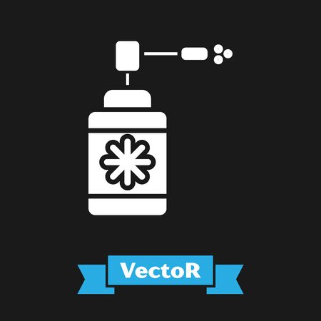 White Medical bottle with nozzle spray for the treatment of diseases of the nose and throat icon isolated on black background. Vector Illustration