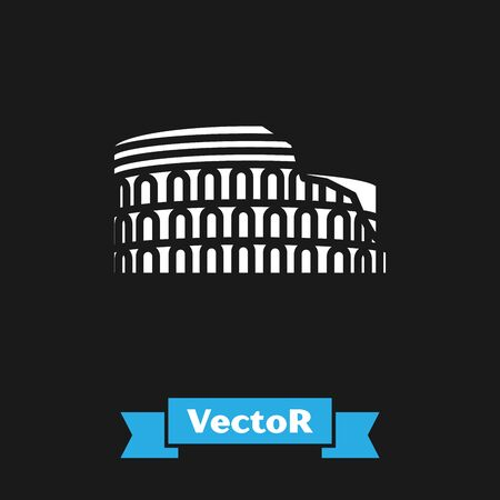 White Coliseum in Rome, Italy icon isolated on black background. Colosseum sign. Symbol of Ancient Rome, gladiator fights. Vector Illustration