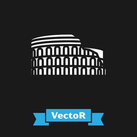 Weißes Kolosseum in Rom, Italien-Symbol auf schwarzem Hintergrund isoliert. Kolosseum-Zeichen. Symbol des antiken Roms, Gladiatorenkämpfe. Vektorillustration Vektorgrafik