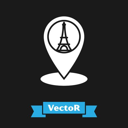 White Map pointer with Eiffel tower icon isolated on black background. France Paris landmark symbol. Vector Illustration