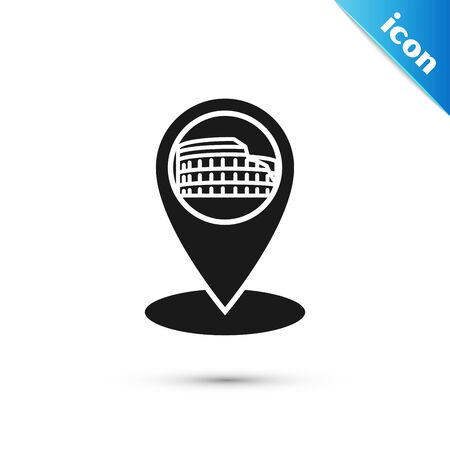 Black Map pointer with Coliseum in Rome, Italy icon isolated on white background. Colosseum sign. Symbol of Ancient Rome, gladiator fights. Vector Illustration
