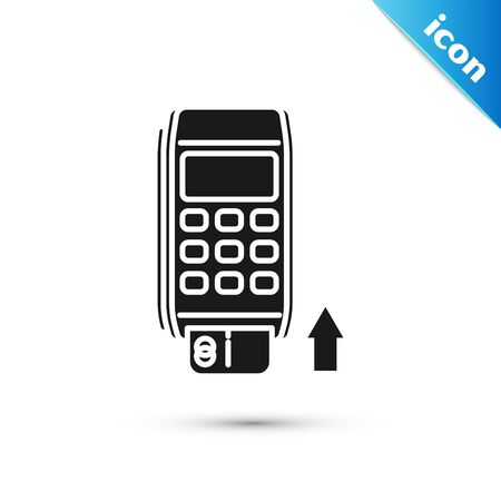 Black Pos terminal with inserted credit card icon isolated on white background. Payment terminal transaction. Pay by card. Vector Illustration Ilustração