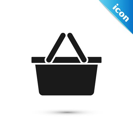 Black Shopping basket icon isolated on white background. Online buying concept. Delivery service sign. Shopping cart symbol.  Vector Illustration