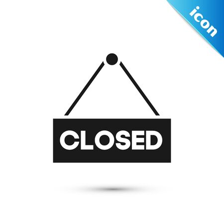 Black Hanging sign with text Closed icon isolated on white background. Business theme for cafe or restaurant. Vector Illustration Stock Illustratie
