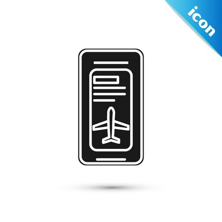 Black Smartphone with electronic boarding pass airline ticket icon isolated on white background. Passenger plane mobile ticket for web and app.  Vector Illustration
