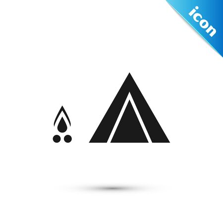 Black Tourist tent with wood fire icon isolated on white background. Camping symbol.  Vector Illustration Imagens - 127092623