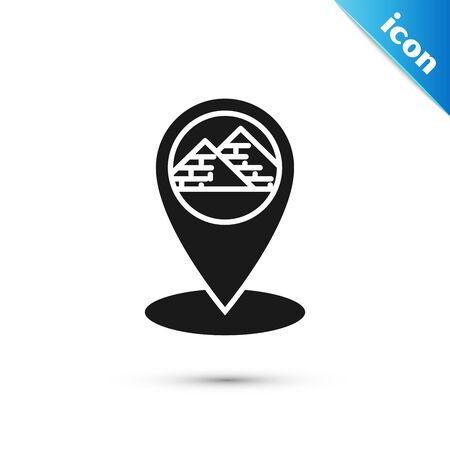 Black Map pointer with Egypt pyramids icon isolated on white background.  Vector Illustration Çizim