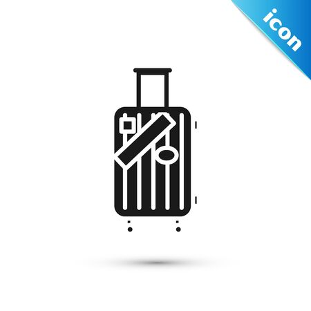 Black Suitcase for travel and stickers icon isolated on white background. Traveling baggage sign. Travel luggage icon.  Vector Illustration