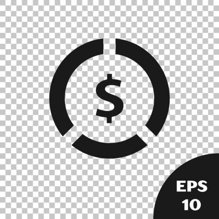 Black Coin money with dollar symbol icon isolated on transparent background. Banking currency sign. Cash symbol. Vector Illustration